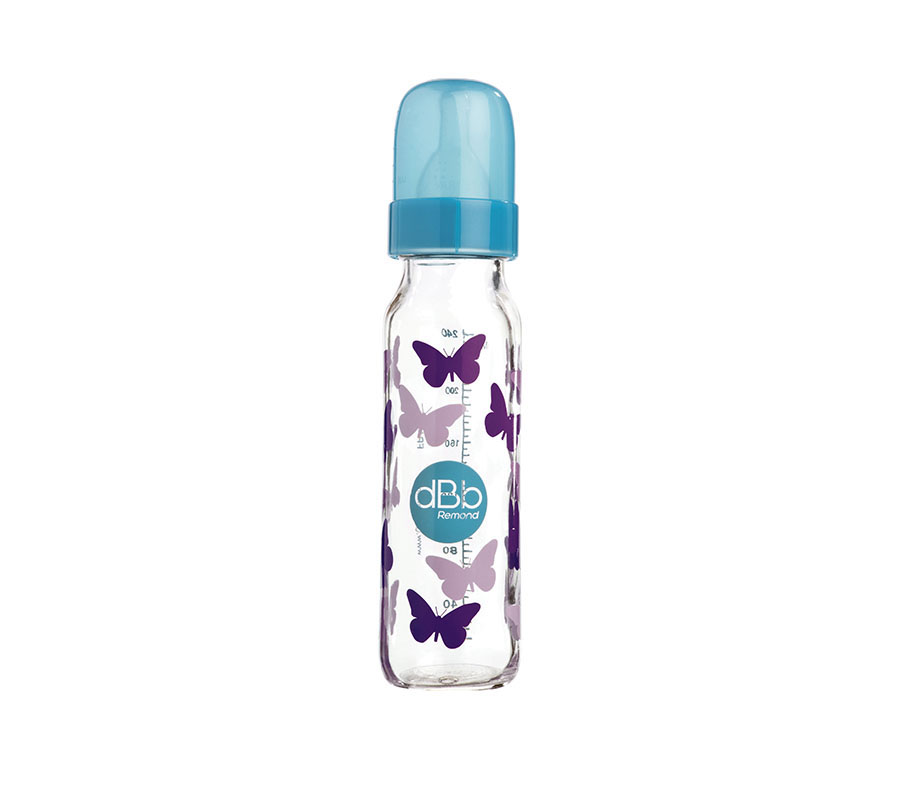 """AIR CONTROL"" FEEDING BOTTLE 240 ML, ""BUTTERFLIES"" DECOR, ""N.N"" SILICONE TEAT"